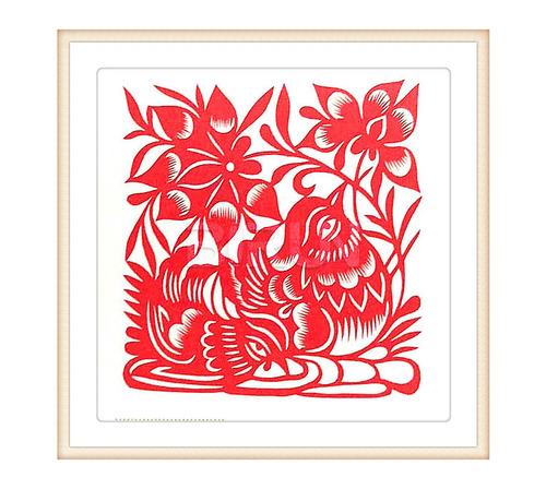 Mandarin Duck Lotus Chinese Paper Cutting