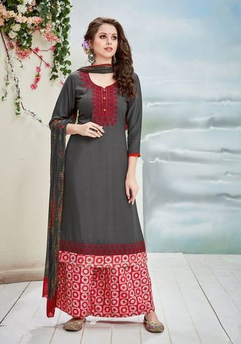 Dark Grey And Red Readymade Plazzo Suit in  Ring Road