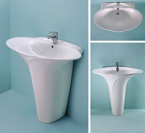 Clarion one piece wash basin with full pedestal in kadi for Latest wash basin designs india