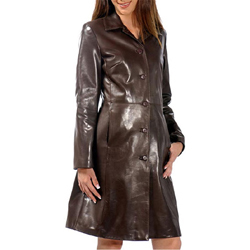 Ladies Long Leather Coats | Down Coat