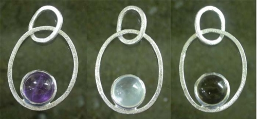 STONE STUDDED SILVER PENDANT in  Bhagat Singh Marg