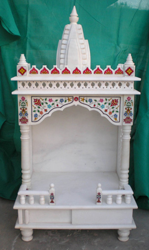 White marble temple in gidc road ambaji viral marble decorator handicraft for Marble temple designs for home