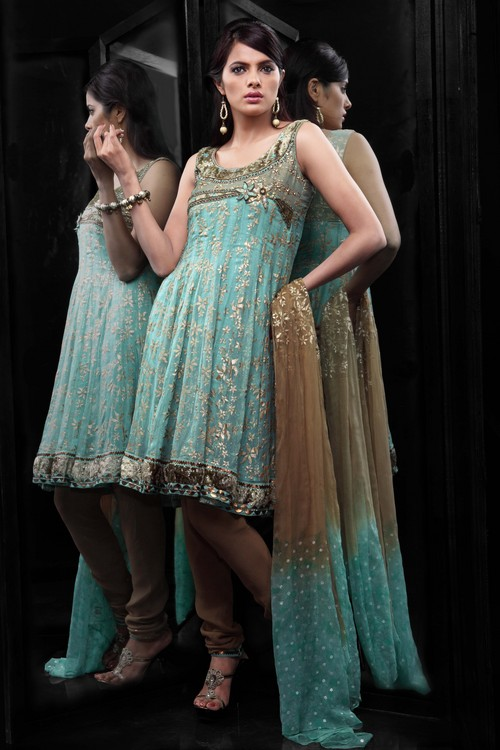 Flair Cut-Chiffon With Foil Print Sleeves Salwar Suit