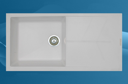 Grey Colour Single Bowl Sink With Drain Board