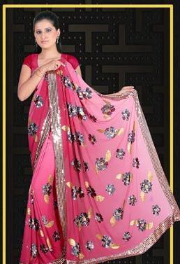 Georgette Designer Sarees in  Radha Krishna Tex. Mkt. (Rr)
