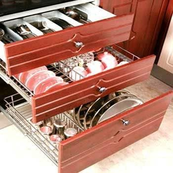 Kitchen pull out cabinets in katraj pune manufacturer for Kitchen trolley design