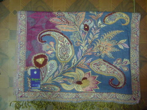 Viscose Stole -Sulzur Make With Wool Embroidery