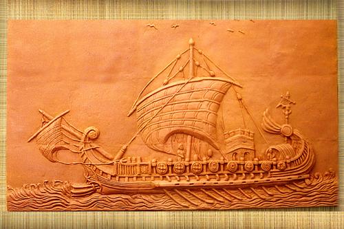 Terracotta Mural Ship Tile In Baishnaab Ghata Lane