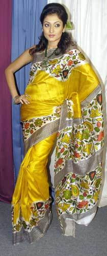 Printed Silk Yellow Sarees