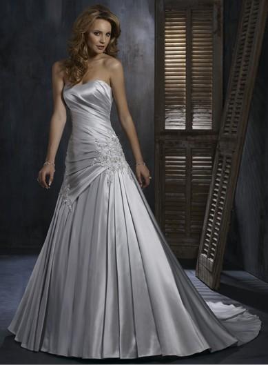 Silver Appliqued Bridal Dress