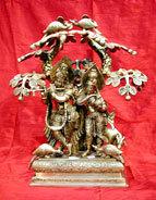 Radha Krishna Brass Sculpture