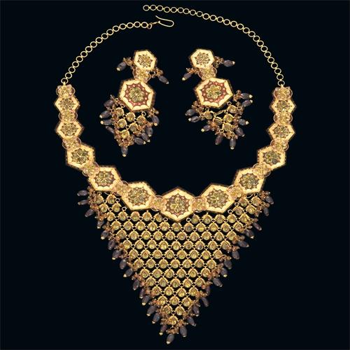 Antique Design Gold Necklace Set in  Kolk-C Temporary Area