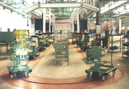 Floor Conveyor For Gearbox Assembly Line With Trolley In