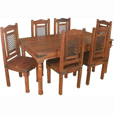 Ethnic Wooden Dining Table With Six Chair Set In Jodhpur