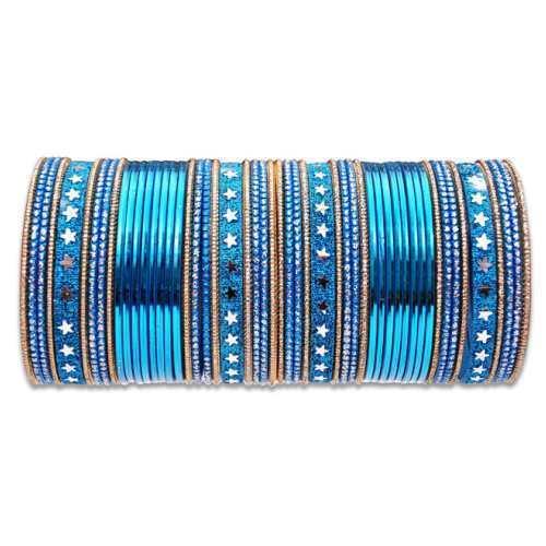 Dark Blue Metal Bangles Set in  New Market (Teliwara-Sb)