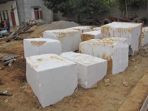 White Marble Block : Pure white marble block in ha noi hanoi stone road co