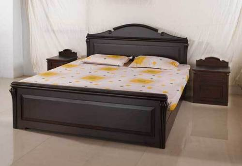 Designer wooden bed in a j c bose road kolkata decofur for Double bed with box design