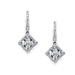 Silver Earrings Studded With American Diamond