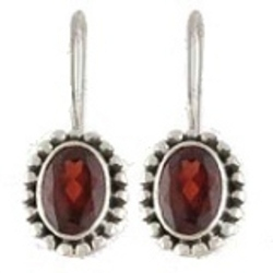Red Stone Hanging Earrings