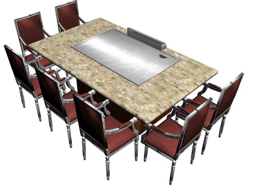 Seats rectangle teppanyaki table in pudong shanghai