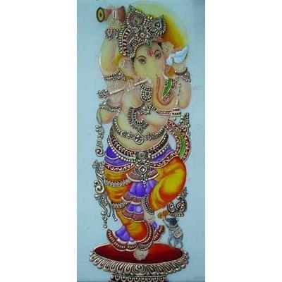 Ganpati Designs Glass Painting