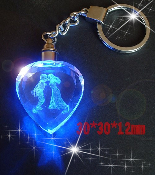 Promotional 3d Laser Engraved Crystal Keychain Gifts In