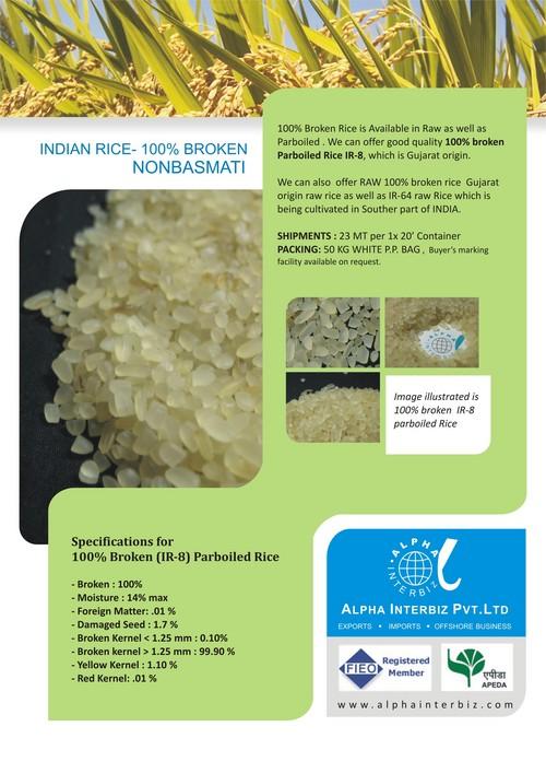 Non Basmati Raw Rice - 100% Broken (Ir64)