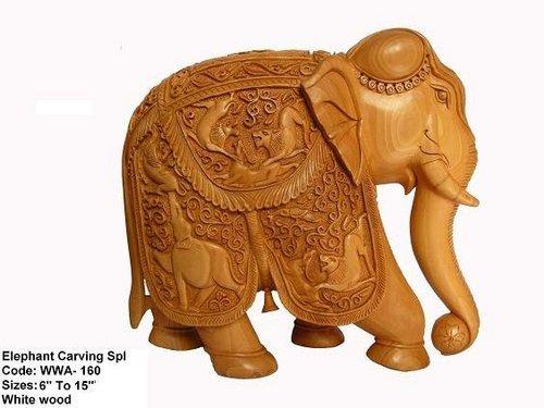 White Wood Elephant Handicraft