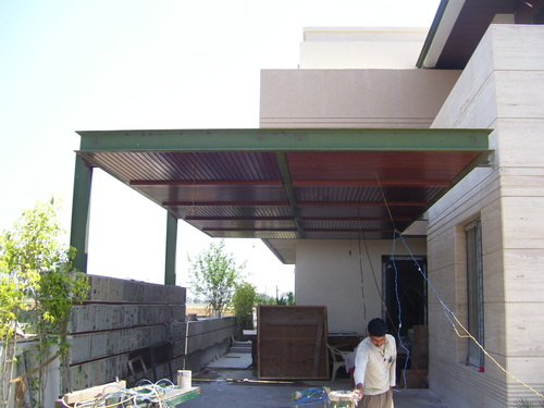 Mild steel car porch fabrication services in bhai himmat for Car porch roof