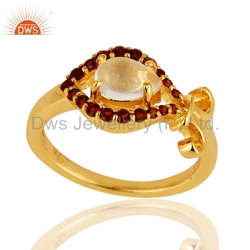 Gold Plated 925 Silver Garnet And Rose Quartz Gemstone Ring