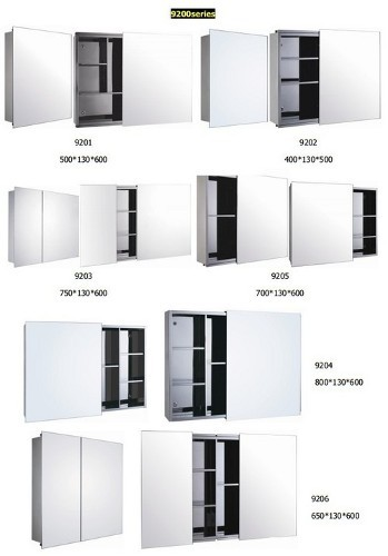 Stainless steel sliding door mirror cabinet in foshan for Bathroom cabinets singapore