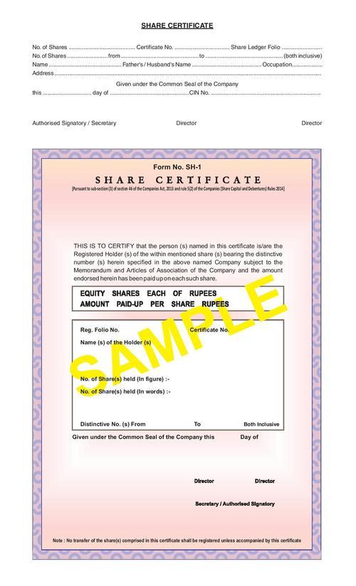 Share Certificate Form SH1 in Vaishali Ghaziabad – Shareholder Certificate Sample