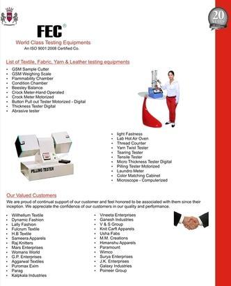 Textile, Garments, Fabric And Leather Testing Machine