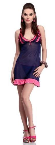 Nightdress with brief in navy blue