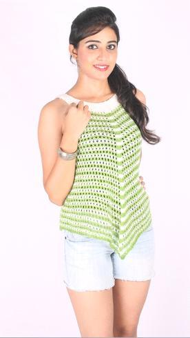 Hand Knitted Ladies Sleeveless Top in  E-407 Ivory Tower Sector 70