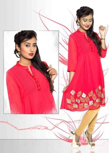 Ladies Red Georgette Kurtis in  A-Sector (Sanwer)