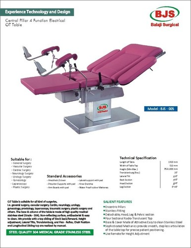 CENTRAL Pillar 4 Function Electric OT Table in  New Area