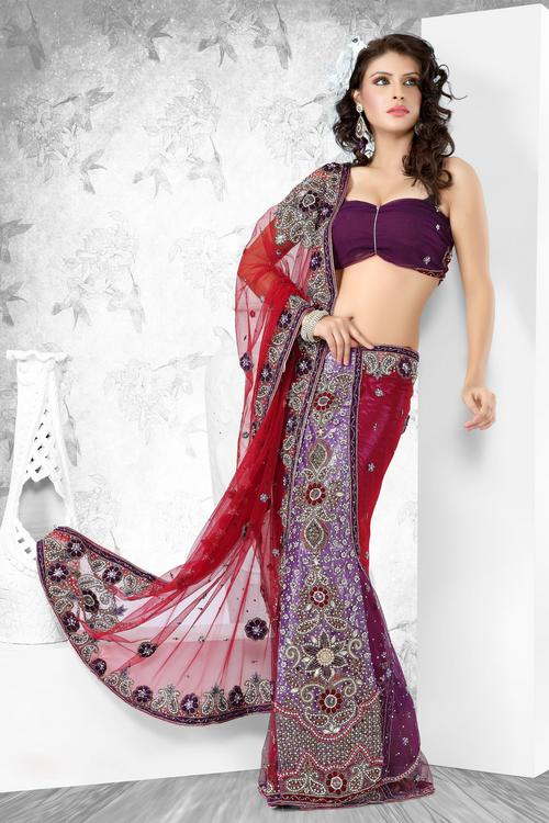 Other Products You May Like Embroidered Net Lehenga Saree Designer Bridal Sarees