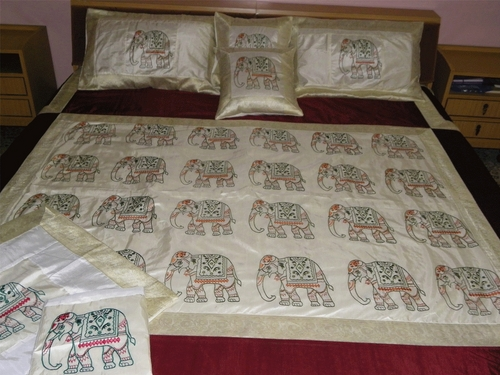 Elephant Print Silk Bed Cover