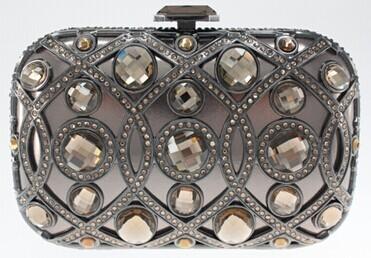 Handmade Glass Stone Cryatsl Metal Frame Evening Bags