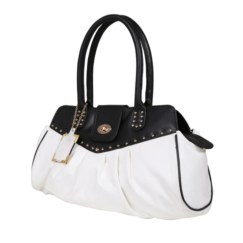 Black White Ladies Synthetic Leather Bags in  Naraina