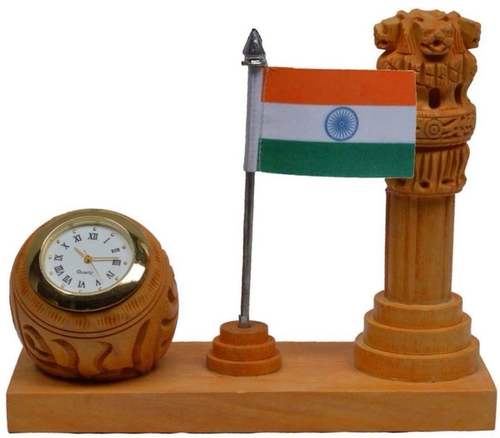 Wooden Watch With Flag And Ashok Stambha