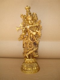Krishna Standing With Double Mala Carved