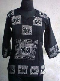 Ladies Cotton Crepe Printed Blouse