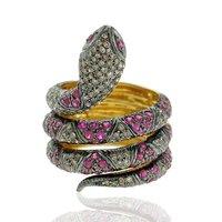 Pave Diamond Snake 14k Gold Designer Gemstone Ring