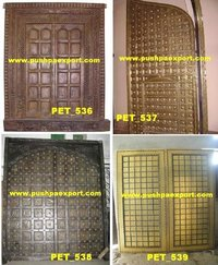 Brass Covered Wooden Carved Door