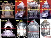 White Metal Carved Pooja Mandir