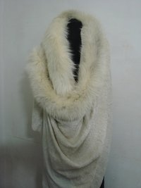 100% Cashmere Towel Shawl With Fur