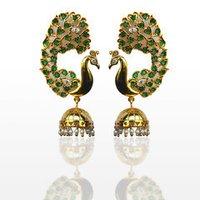 Peacock Green Color Earrings