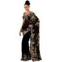 Embroidered Black Georgette Saree